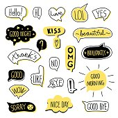 Hand-drawn speech bubble set. Vector illustration, isolated on white background.