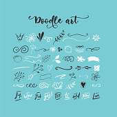 Handdrawn vector doodle set. Floral elements, swashes, lines, short text messages