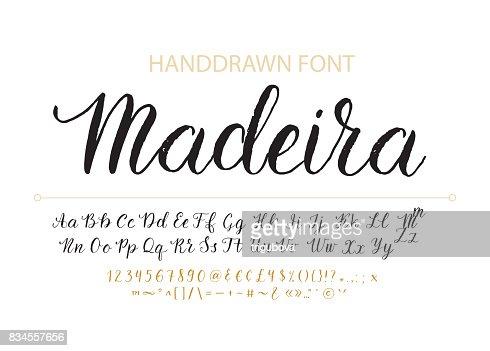 Handdrawn Vector Script font.  Brush style textured calligraphy cursive typefac : stock vector