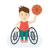Handicapped athlete basketball. Objects isolated on background. Flat cartoon vector illustration.