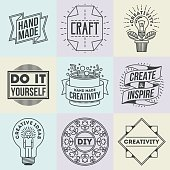 Handicraft and DIY Insignias Symbols Template Set 5. Line Art Vector Elements.