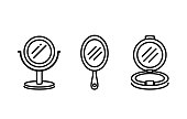 Handle mirror icon collection in line style. Illustration about beauty equipment and medical.