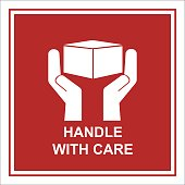 shipping instruction handle with care sign isolated vector