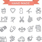 Handmade icons, thin line, flat design