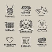 Handmade line vintage logo set. Handmade retro badges or handmade outline labels. Knitwear and sewing symbols. Vector illustration