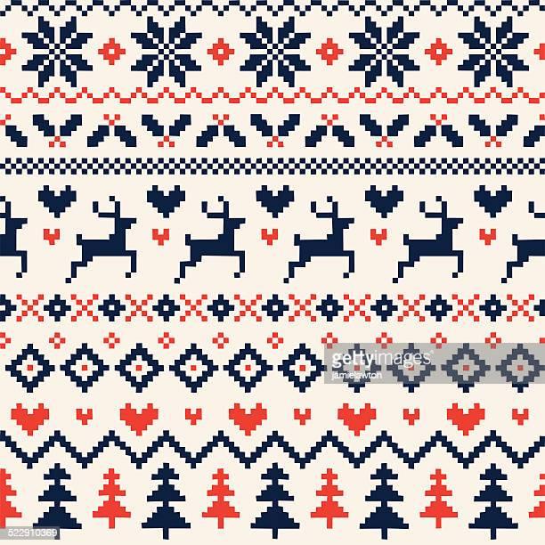 Realizzata a mano Seamless Pattern di Natale con renne, cuori, alberi di Natale, fiocchi di neve