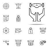hands and drone icon. Drones icons universal set for web and mobile on white background