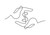 Continuous line drawing of a dollar sign between two human hands. Vector illustration