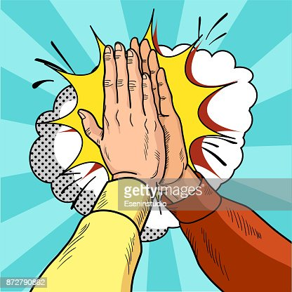 Hands give five pop art. Male hands in a gesture of success. Yellow and red sweaters. Vintage cartoon retro vector illustration. : stock vector