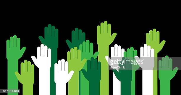 Hands Green Raised