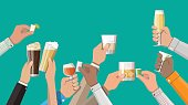 Hands group holding glasses with wine, vodka, tequila, liquor, champagne, whiskey, beer and cognac drinks. Celebration ceremony, holydays. Vector Illustration in flat style