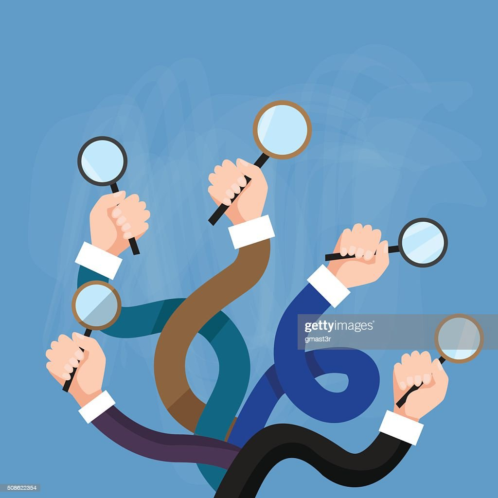 Hands Group Holding Magnifying Glass Search Choose : Vector Art