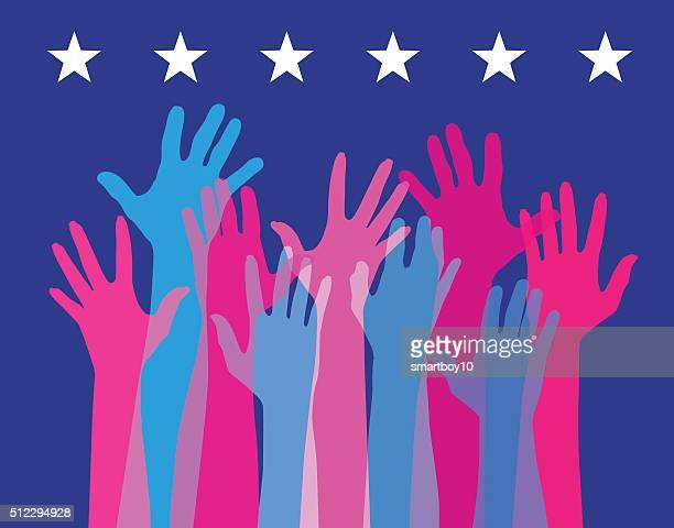 Hände hoch in den VEREINIGTE STAATEN Wahlen stattfinden