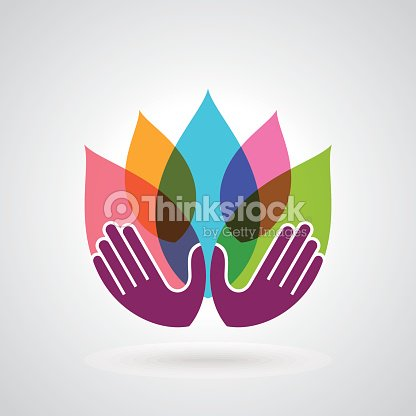 Hands Holding A Lotus Flower Vector Icon Stock Vector Thinkstock