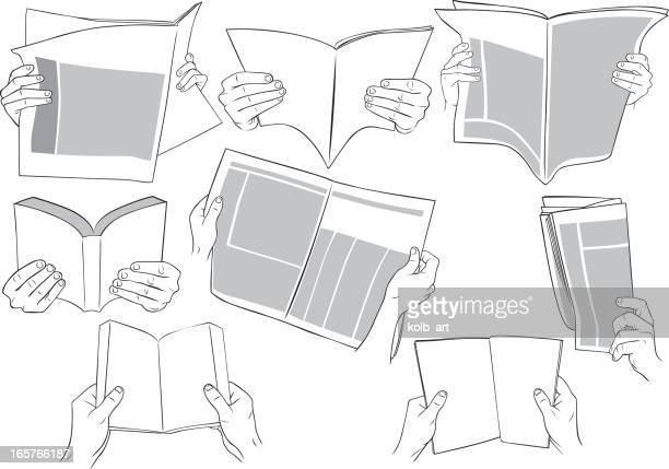 Hands holding books, magazines, newspapers and reading.