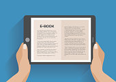 Hands holding electronic book, flat design concept. Using e-book, eps 10 vector illustration