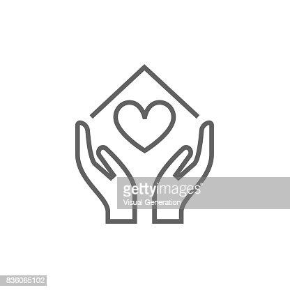 Hande Halten Haussymbol Mit Herzformsymbol Vektorgrafik Thinkstock