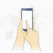 Vector illustration of hands holding hi-tech modern smartphone with blank screen in flat line style.