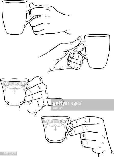 Hände holding Tassen Kaffee und Tassen Tee