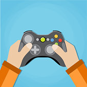 Hands holding wireless gamepad. vector illustration in flat design on blue background