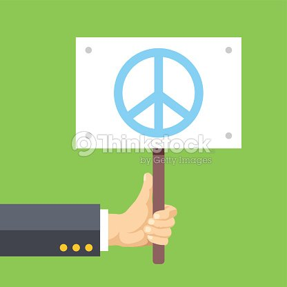Hands Holds Sign With Peace Sign Peace Pacifism No War Vector Art