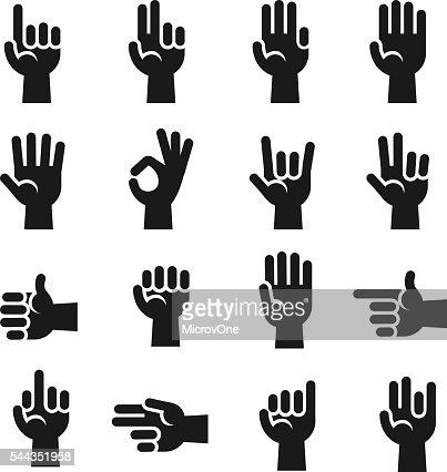 Conjunto De ícones De Mãos Dedos A Contar Sinal De Parar