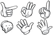 Hands in white glove doing six actions illustration
