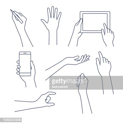 Hands line icon. Vector illustration. Editable stroke. : arte vetorial