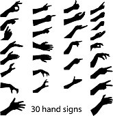 hands silhouettes . vector illustration