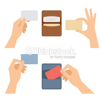 Hands takes out business card from holder holds credit cards arte hands takes out business card from holder holds credit cards arte vetorial reheart Choice Image