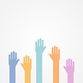 Hands up. Flat design, vector illustration