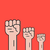 hands up like revolution protest. concept of communism, socialism, soviet, radical, patriotic, solidarity, uprising. isolated on red background. flat style trend modern design vector illustration