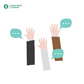 Hands up of businessman meaning vote or asking or answering or agreement on white background illustration vector. Business concept.