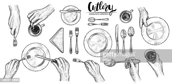 Hands with cutlery, vector line illustrations. Top view on table setting with dining people. : Arte vettoriale