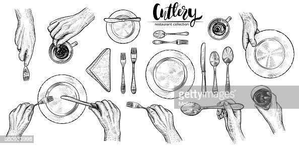 Mains avec des couverts, vecteur ligne illustrations. Vue de dessus sur le réglage de la table à manger les gens. : Clipart vectoriel