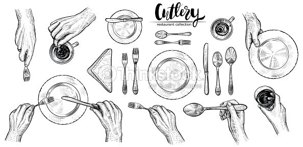 Hands with cutlery, vector line illustrations. Top view on table setting with dining people. : stock vector