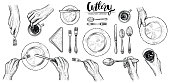Hands with cutlery, vector line illustrations. Dining people, top view on table setting with human wrists, spoon, fork, knife, napkin, wine glass and cup. Engraved monochrome style.
