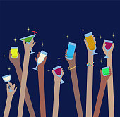 Hands with drinks of alcohol in glasses celebrate at Party - vector easy to edit
