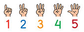 Icon set ands and fingers for counting education from 1 to 5. Childrens vector illustration