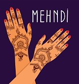 Element yoga mudra hands with mehendi patterns.  illustration for a yoga studio, tattoo, spas, postcards, souvenirs. Indian traditional lifestyle.