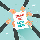 Cooperation concept. Hands with pencils and motivational poster Dream Big Work Hard. Vector illustration in flat style