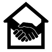 Handshake and successful real estate transactions. Vector illustration