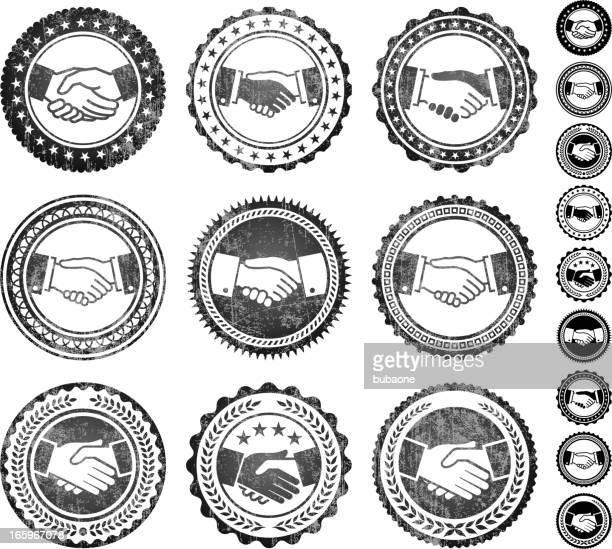 Handshake Badges Black and White Grunge Texture