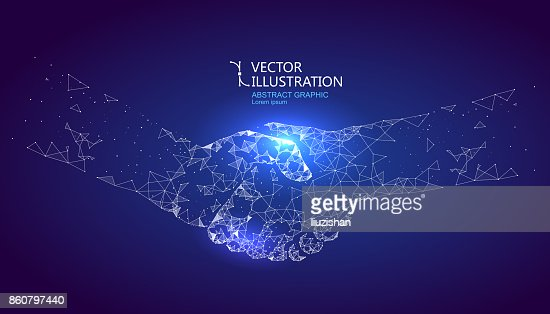 A handshake graphic formed by point and line connection, graphic design of science and technology. : stock vector