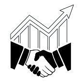 Illustration of handshake icon concept design