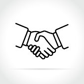 Illustration of handshake icon on white background