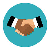 Handshake icon. Shake hands, agreement, good deal, partnership concepts. Vector image