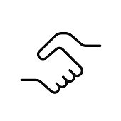 Handshake icon, a symbol of a signed contract, greetings, friendship, simple black color one line vector illustration isolated on white background