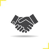 Handshake drop shadow icon. Isolated vector illustration. Business agreement