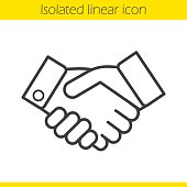 Handshake linear icon. Partnership. Thin line. Vector